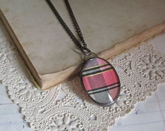 Silk Ribbon Glass Bubble Pendant. Soldered Jewelry. Long Necklace.
