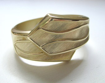 Vintage gold tone clamper bracelet Tailored Cuff by Sarah Coventry
