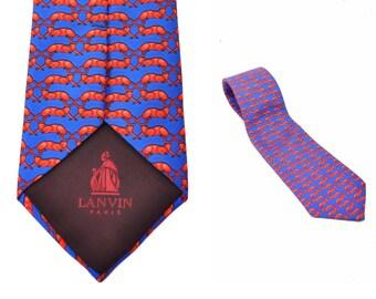 vintage Lanvin tie / panther print tie / designer silk necktie / Made in France
