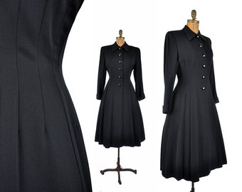 "40s black princess coat / gabardine full skirt coat  / 1940s coat .. 30"" waist"