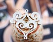 Baroque Style Links Antique Silver Connectors Pendants 36x35mm - 4