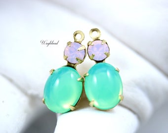 Vintage Oval Glass Dangles Set Stones 1 Ring 18x8mm Connectors Brass Settings Rose Water Opal & Green Opal - 2