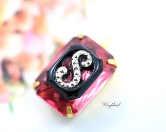 Rose Pink Black Marcasite Alphabet Monogram Letter S 18x13mm Glass Octagon Set Stones Pendant Connector Brass Settings - 1