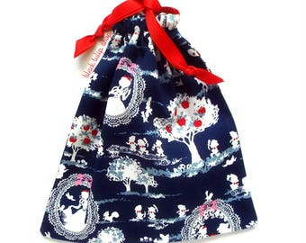 Cute Pouch Drawstring Bag Snow White Drawstring Pouch Fairytale Gift Bag Kawaii Pouch Dark Blue Makeup Bag Small Purse Handmade Bag Gift Bag