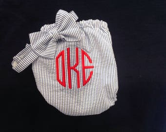 Boy seersucker diaper cover with bow tie - boy diaper cover - pants - monogram - initials -  new born -1st birthday -  photo shoot