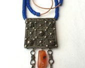 African Prayer Box Necklace with Russian Blue Glass Beads and Carnelian
