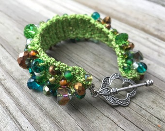 Colorful Crocheted Beaded Statement Cuff Bracelet in Browns and Blues with Green and Gold Cord - 7-1/4""