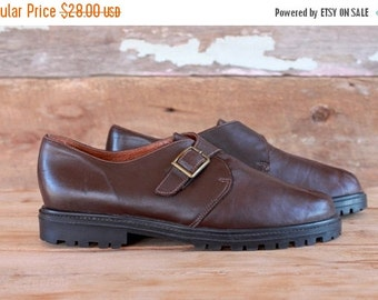 SALE 1990s shoes / brown leather monk strap buckle loafers / size 8