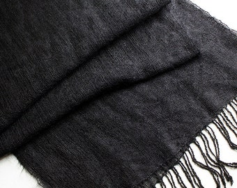 "Handwoven Black Mohair and Rayon Wrap/Shawl -  77""x14.75"""