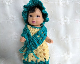 """Cute 5 pc Crocheted Dress Hat Scarf & Booties Set in Yellow and Teal Green fits 4"""" Nikki Dolls   #03"""