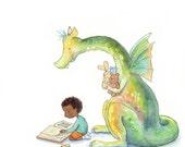 African American Boy Reading to a Dragon - Art Print - Children