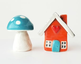 Little Clay House | Orange House | Ceramic House | Whimsical House | Fairy House | Miniature House | Tiny House | Terrarium Decoration