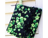 HOLIDAY SALE - Cosmetics Bag Knitting Notions Zipper Pouch Green Ivy Cotton Black Organza Ruffles Wrist Strap