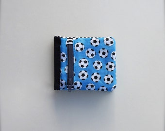 Wallet with zippered coin section -soccer design- fabric wallet - billfold wallet with zippered section - children's wallet - soft wallet