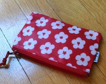 "Finnish red flower OIL cloth coin purse, 5x3"", cute from Finland"