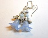 Christmas Blue Angel Earrings, Angel Earrings, Earrings Angel, Silver, Swarovski Austrian Crystals, Gift