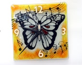 butterfly Wall Clock, Fused glass art wall hanging  orang and white  tons painted Wallclock