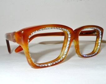NOS Christian Dior Rhinestone Wayfarers Mod Faux Tortoise Shell Blonde Eyeglasses Frame Designer Sunglasses Light Blue STuds 48mm lens