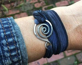 Swirly Wrap Bracelet in Oxidized Sterling Silver