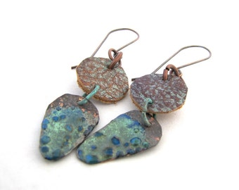 Git Along -Shimmery Seafoam Turquoise Enamel Shields hanging from  Brown and  Silvery Green Textured Leather Discs Lightweight Boho