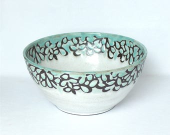 Bowl , Salad Bowl , Accent Bowl , White Modern Floral