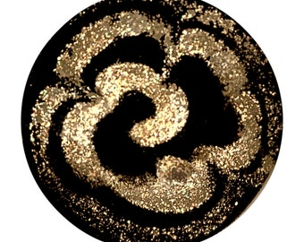 Button--Fine Fire Polished 19th C. Black Glass with Aventurine Swags Overlay