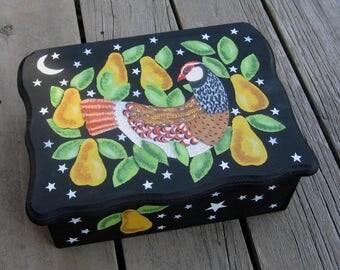 BIRD Custom Design Wood Keepsake Box - Original Hand Painted - Partridge In A Pear Tree - Large Size Trinket Box