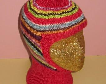50% OFF SALE Instant Digital File pdf download madmonkeyknits knitting pattern- Lucky Dip Silk Striped Balaclava pdf download knitting patte