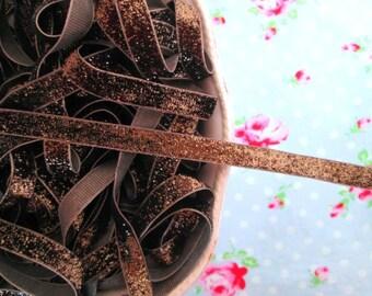 Bronzed Brown Metallic Velvet Glitter Ribbon - 3/8 inch - 2 Yards