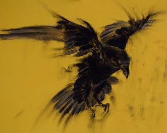 "Flying Raven Original Charcoal Drawing Crow Art 12x8"""