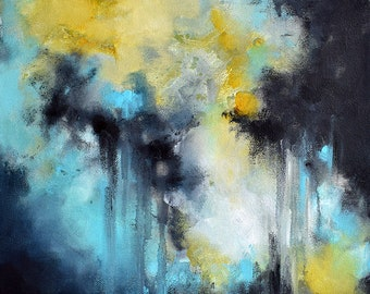 """Original Abstract Painting Blue Black Yellow Oil Painting Modern Art 12""""x9"""""""