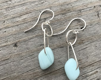 Sterling Silver Earrings Sterling Silver Beach Glass Earings Handmade
