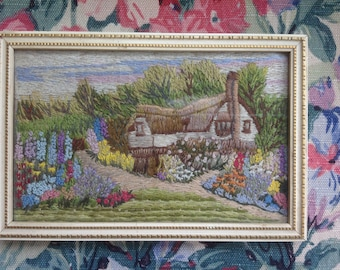 Vintage 1930s Embroidered Cottage Picture