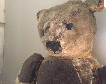 Antique teddy Bear, 100 year old mohair, shoe button eyes, hump back.