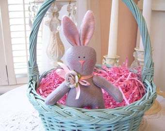 Sweet Little Flannel Bunny....Gray and Pink....Great for Spring...So Cuddly and Soft...Easter Bunny