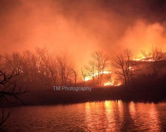 Hills on Fire - Fire - Controlled Fire - Controlled Burn - Flint Hills - Kansas - Tallgrass Prairie Preserve - Night Burning -Smoky
