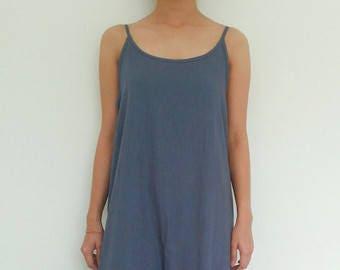 Linen Slip Dress/Spaghetti Strap Night Gown /Minimalist Midi Tunic Dress/long dress/softened linen