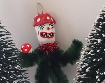 Vintage Style Feather Tree Chenille Mushroom Man Christmas Holiday Ornament