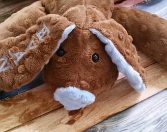 Stuffed Puppy - Dog Soft Toy -  Minky Dot Fabric - sensory animal -  stuffed animal - minky dot dog - Plushie - sensory toy - Custom Colors