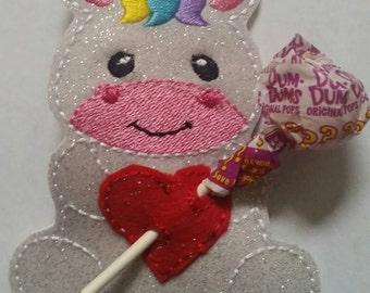 Unicorn Sucker Holder - Valentine - Classroom Party Favor - Birthday Party Favor - magical - heart - lollipop - be mine - non food treat