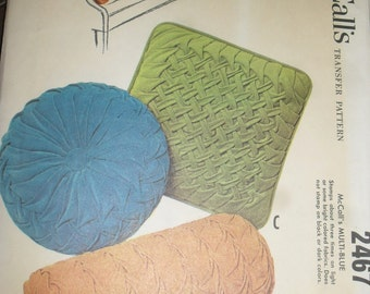 Vintage McCall's  Pattern- Sewing Pattern - Three Smocked throw Pillows  - 1961 - # 2467