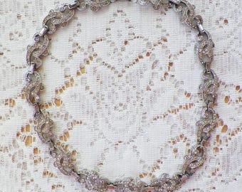 Delicate Vintage Rhinestone Studded Silver Tone Necklace / Choker, Vintage Bride, Bridal, Evening, Prom, Clear Rhinestones