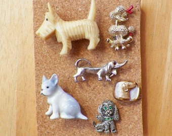 Dog Themed Curiosities and Vintage Jewelry Thumbtacks / Push Pins / Tacks, Dogs / Puppies / Puppy Shaped, Figurines / Figurine, Rhinestones