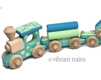 Blue and Green Painted Wooden Toy Train Hand Made and Hand Painted FIVE CARS. Ready to Ship today.