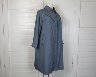 90s Plus Size Raincoat / Long Trench Coat- 1980s Blue Gray New Wave- Punk