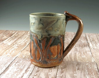 Arts and Crafts Mission Pottery Coffee Cup Woodland Mission Style - Original Design by Botanic2Ceramic - 904