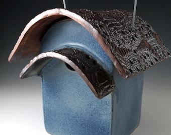 Blue Ceramic Birdhouse - Pottery Bird House - Rustic Birdhouse - Garden Decor - Blue Birdhouse - Outdoor Birdhouse -  Handmade Pottery - 315