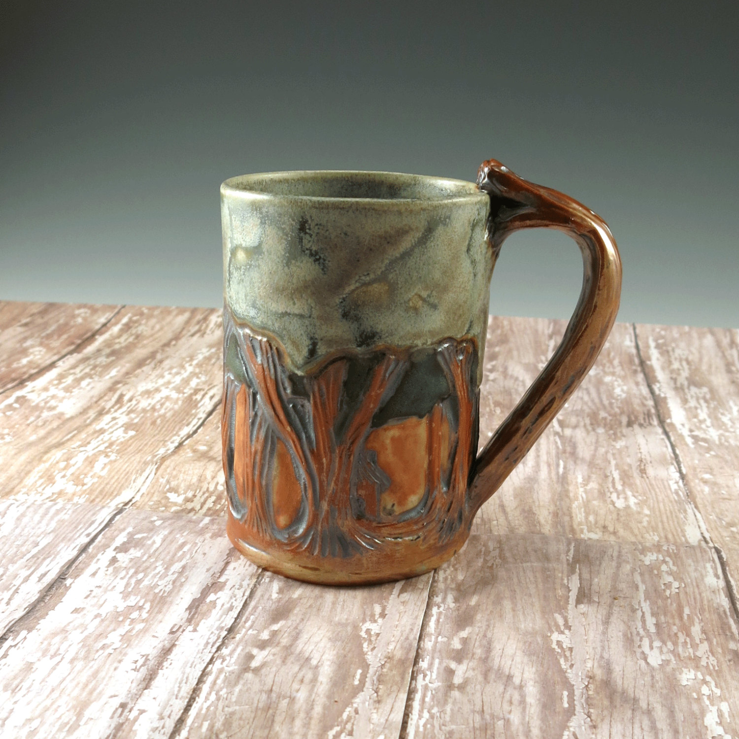 Arts and crafts mission pottery mug woodland decor unique for Arts and crafts pottery