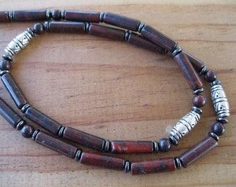 Poppy Jasper, Hematite, Pewter Necklace, Tribal Necklace, Mens Beaded Necklace, Womens Jasper Necklace, Mens Jasper Necklace