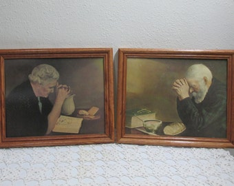 Pictures Grace and Gratitude  Old Man with Old  Woman Praying over Bread 8 x 10 Plus Frame